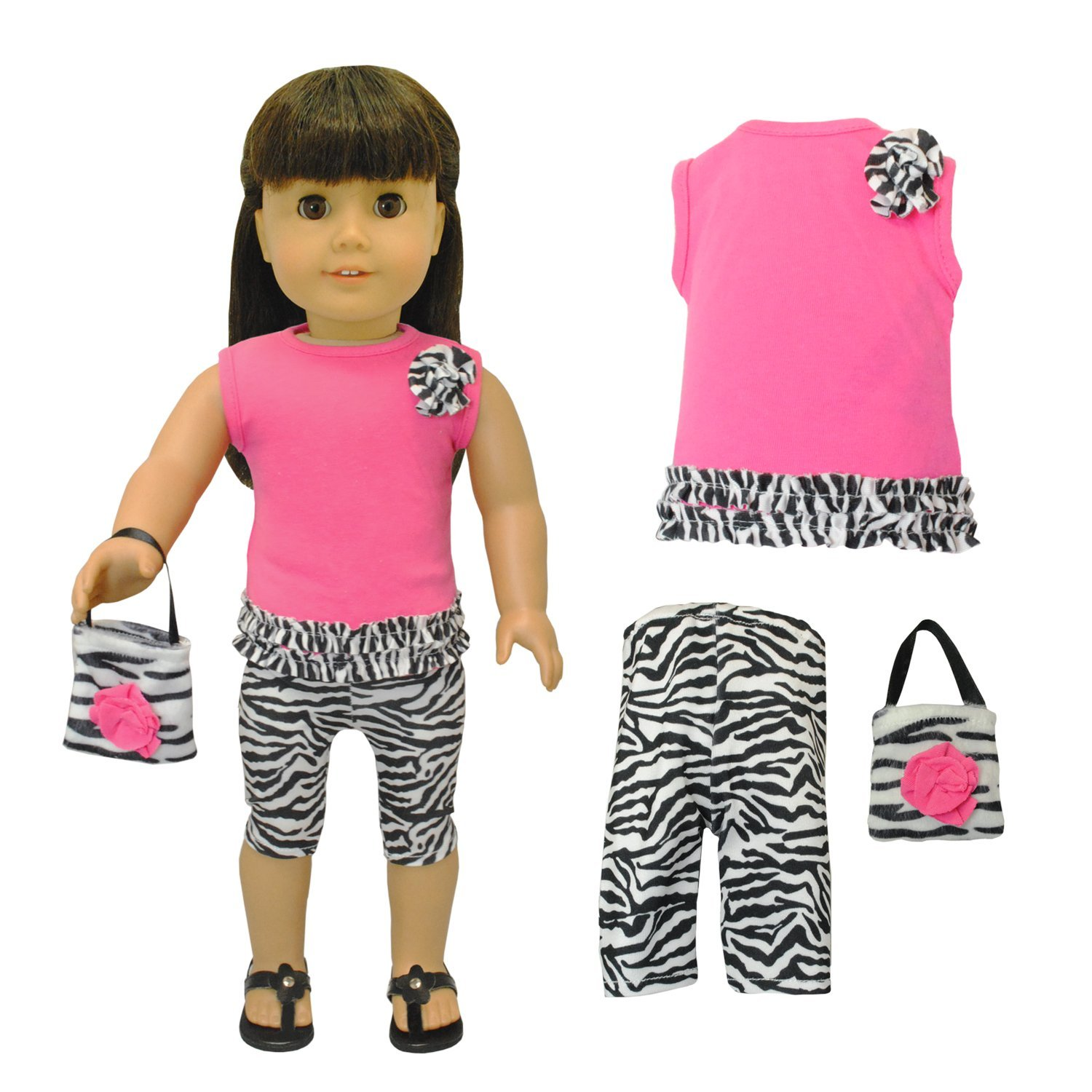 "Doll Clothes Zebra Leggings & Purse Fits American Girl 18"" Pink"