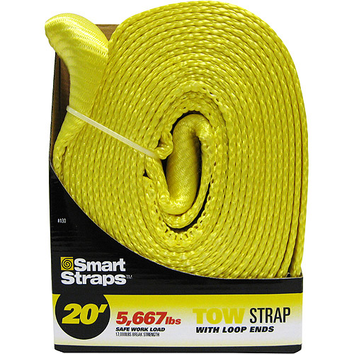 SmartStraps 20' 17,000 lbs. Tow Strap with Loop Ends, Yellow 1 Pack