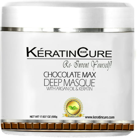 Keratin Cure Chocolate Max Deep Hair 17 oz  Mask Masque Moisturizing Reparation Dry Damaged Hair Shea Butter Argan Oil Strengthen Boosts Growth Smooths Frizz Scalp Treatment for all types (Queratina Chocolate)