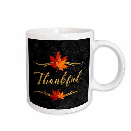 3dRose Thankful Typography Faux Gold Leaf and Chalkboard Fall Theme - Ceramic Mug,