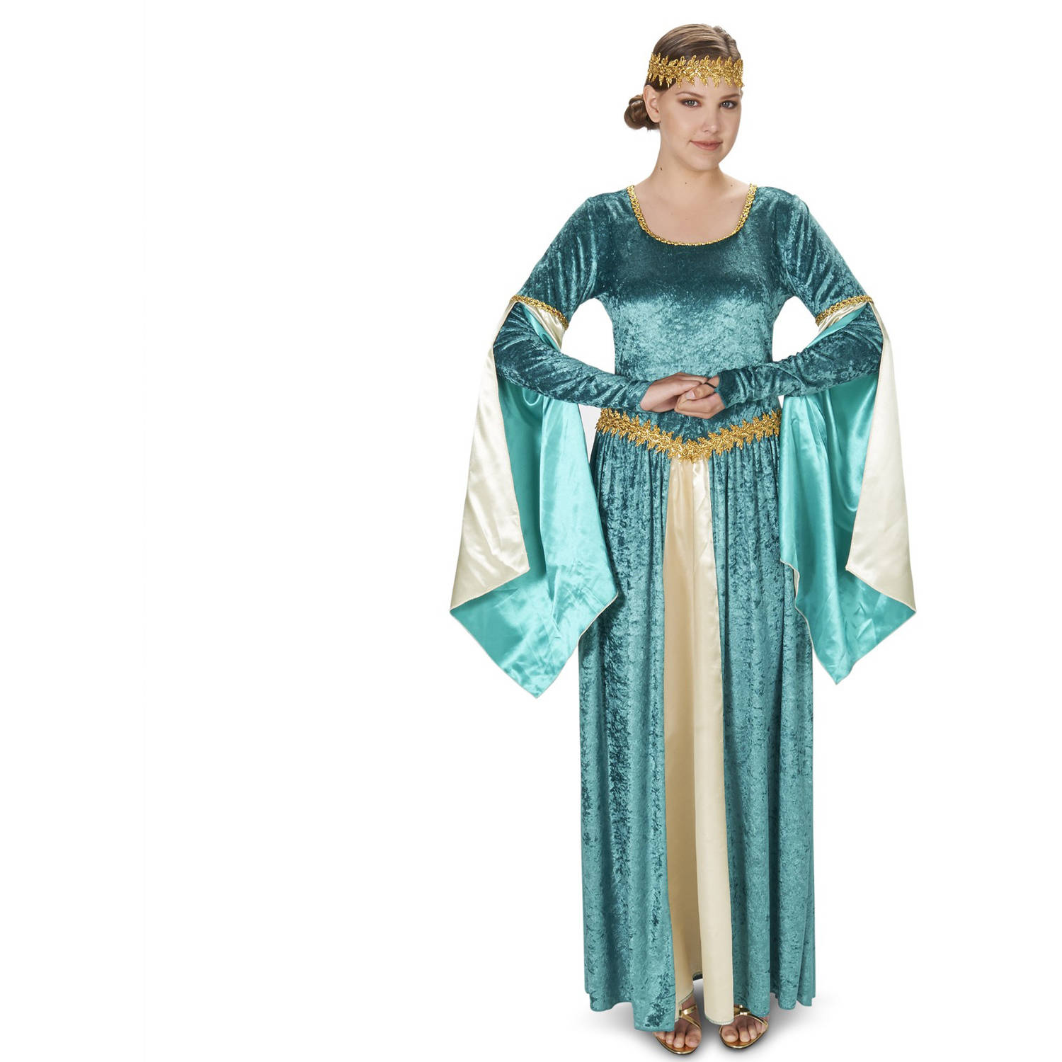 Medieval Teal Velvet Dress Women's Adult Halloween Costume