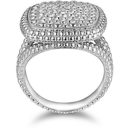 0 10 Carat T W  Diamond Accent 18Kt White Gold Tone Center Square Ring
