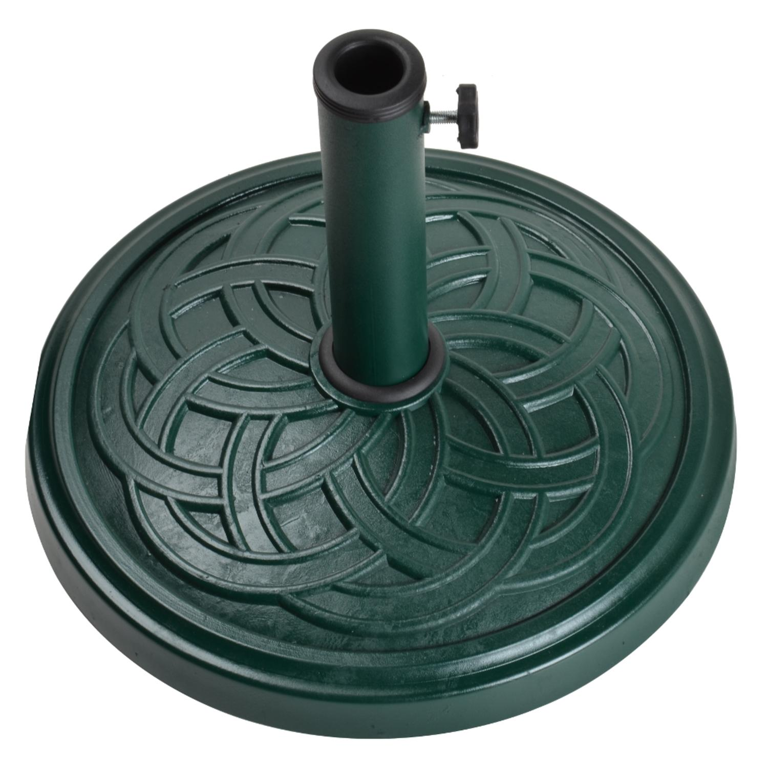 "19"" Clodagh Celtic Knot Forest Green Envirostone Outdoor Patio Umbrella Base"