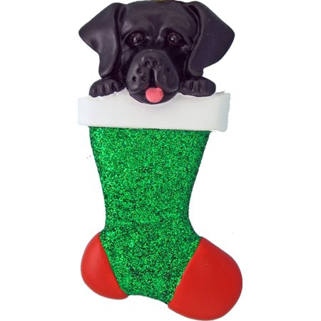 Dog in Stocking Labrador Black Personalized  Christmas Ornament DO-IT-YOURSELF
