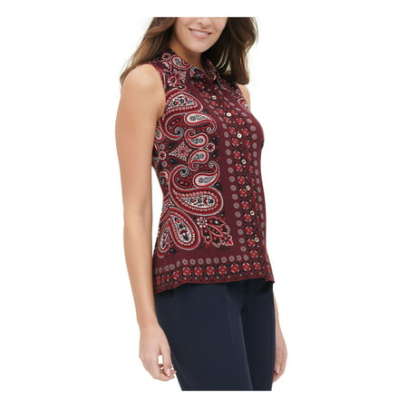 TOMMY HILFIGER Womens Maroon Paisley Sleeveless Collared Button Up Top Size L