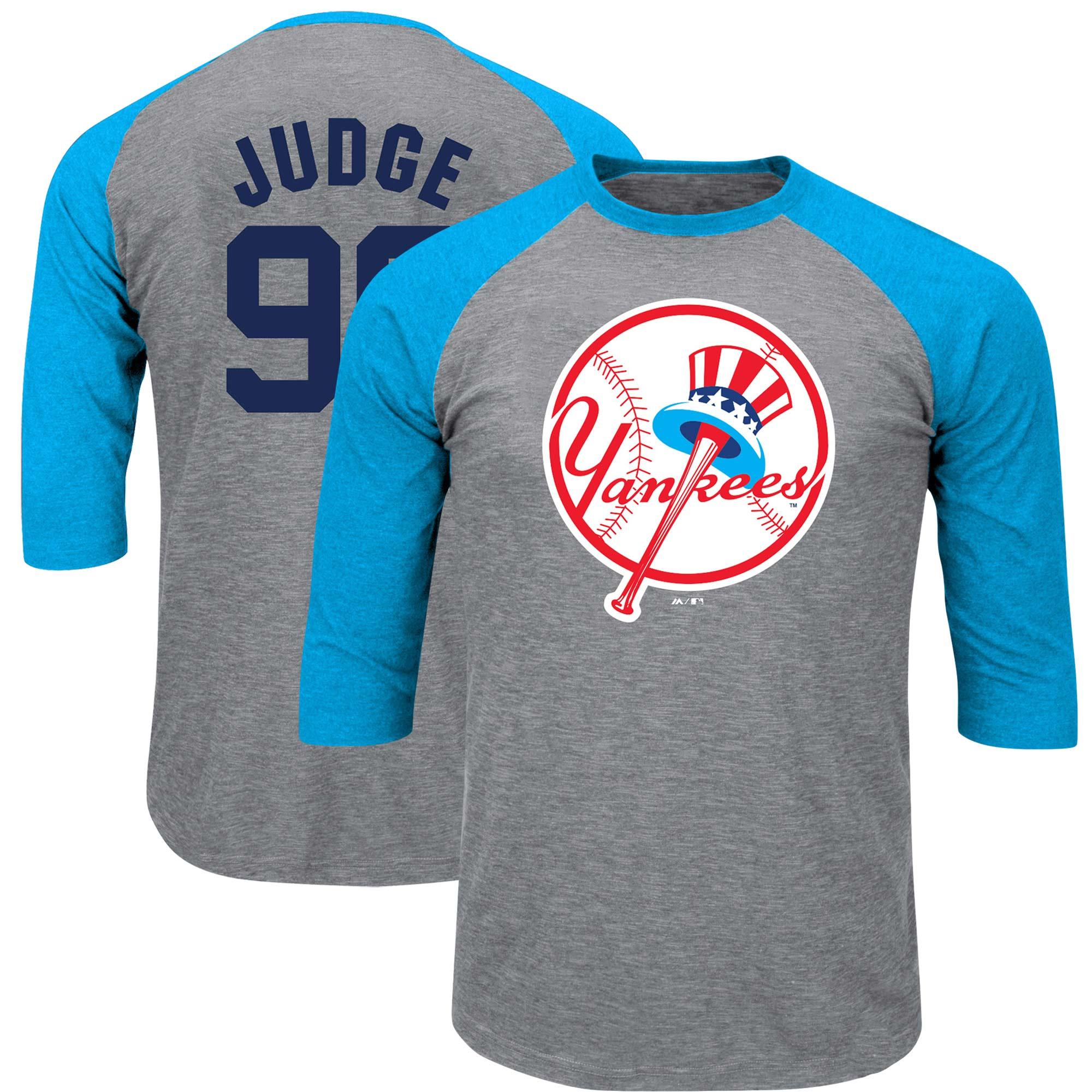 Aaron Judge New York Yankees Majestic Big & Tall Player Raglan 3/4-Sleeve T-Shirt - Heathered Gray/Light Blue