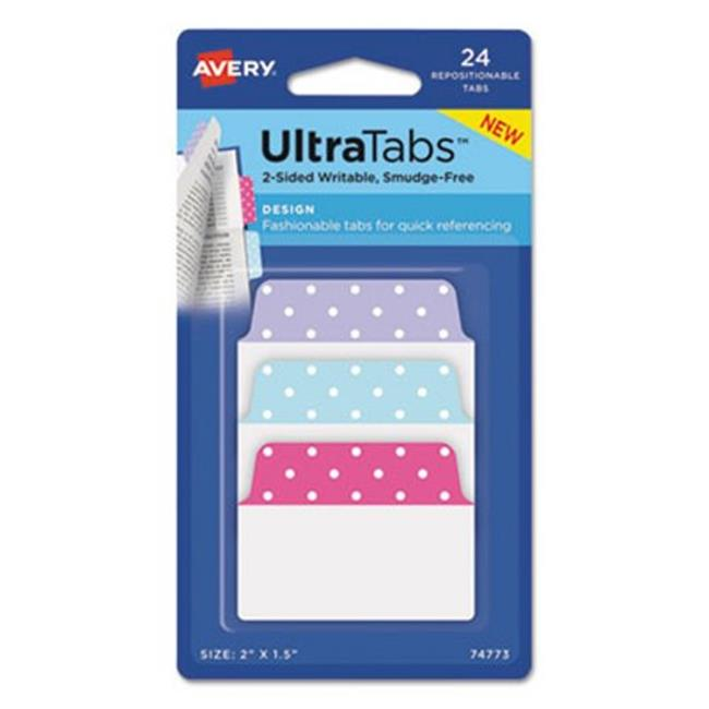Avery Dennison 74773 2 x 1.5 in. Ultra Tabs Repositionable Tabs, Dots - Assorted Dots, 24 per Sheet