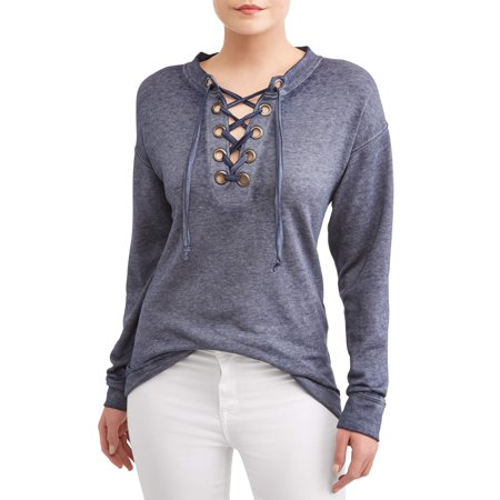 Women's Grommet Lace Up Sweatshirt