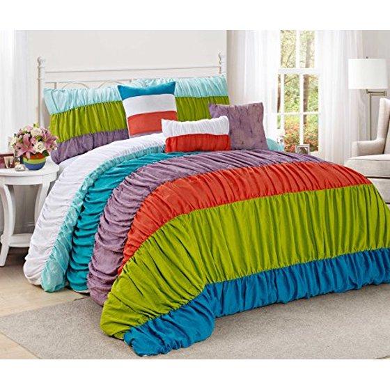 7 piece celene colorful stripe ruffled clearance bedding comforter set fade resistant wrinkle. Black Bedroom Furniture Sets. Home Design Ideas