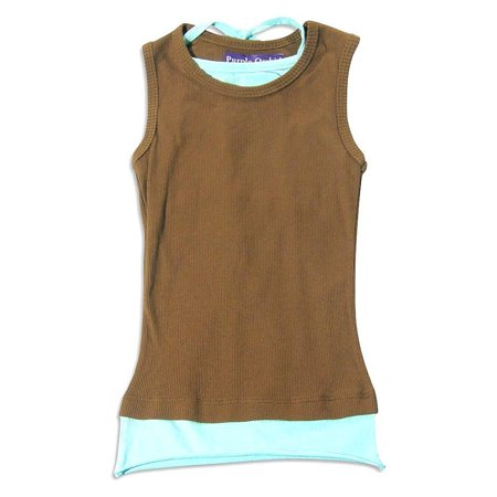 Purple Orchid - Little Girls Sleeveless Top Brown Aqua / 4