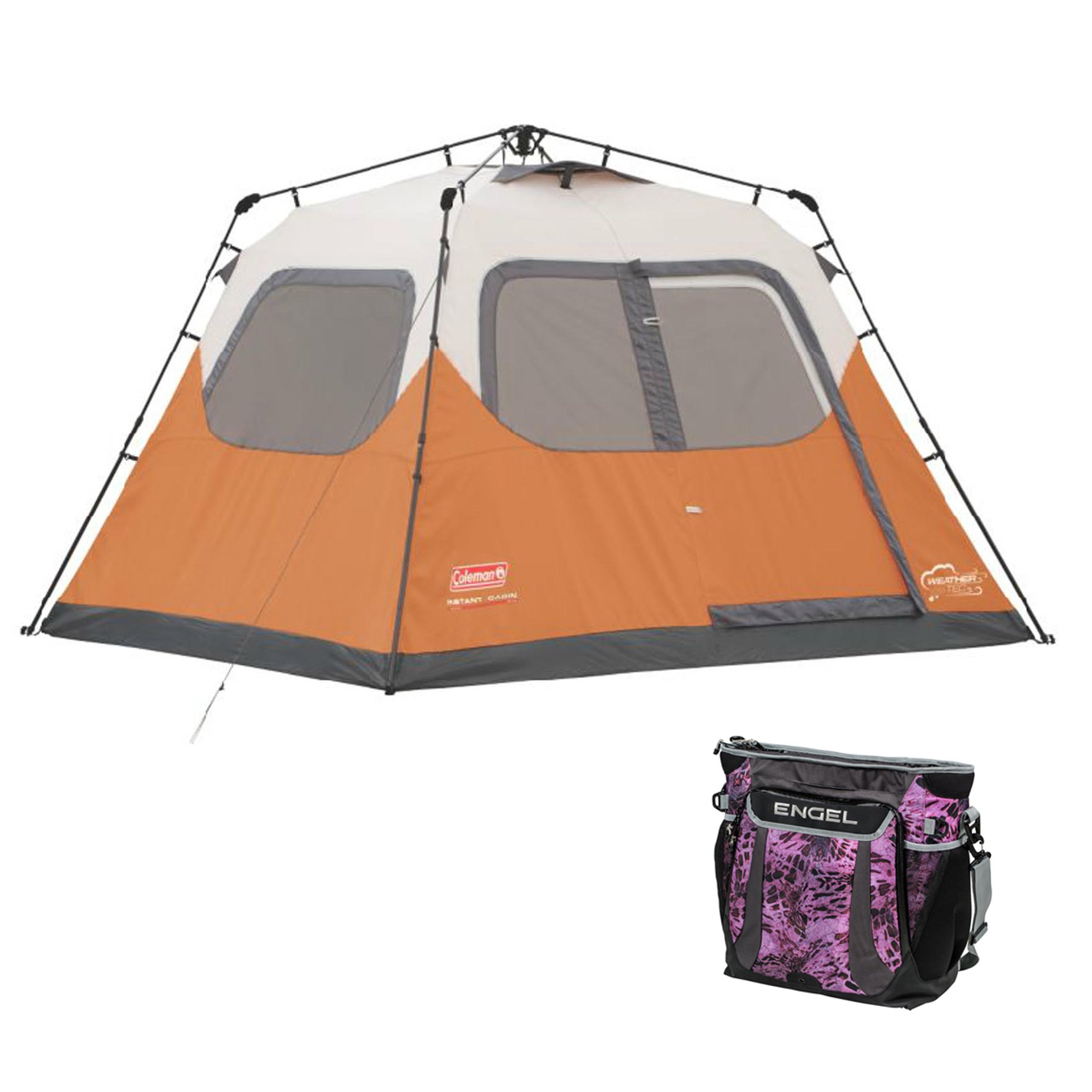 Coleman Outdoor 6 Person Instant Family Camping Tent & 24 Can Backpack Cooler