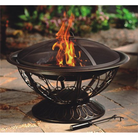 Hiland Round Wood Burning Fire Pit with Scroll Design ()