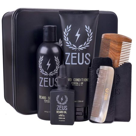 ZEUS Executive Beard Care Kit - Grooming Tools and Beard Care Set for Men! (Scent: Verbena Lime)