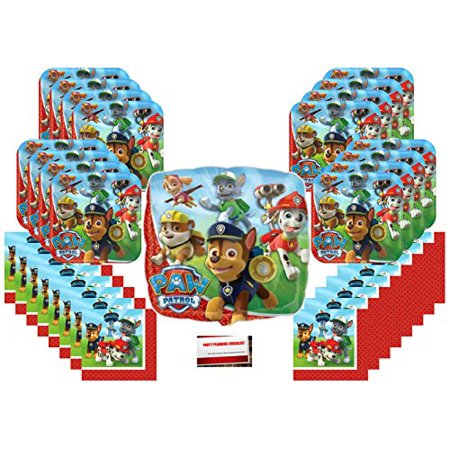 Paw Patrol Rescue Puppy Pet Birthday Party Supplies Bundle Pack for 16 (Bonus 18 Inch Balloon Plus Party Planning Checklist by Mikes Super Store) ()