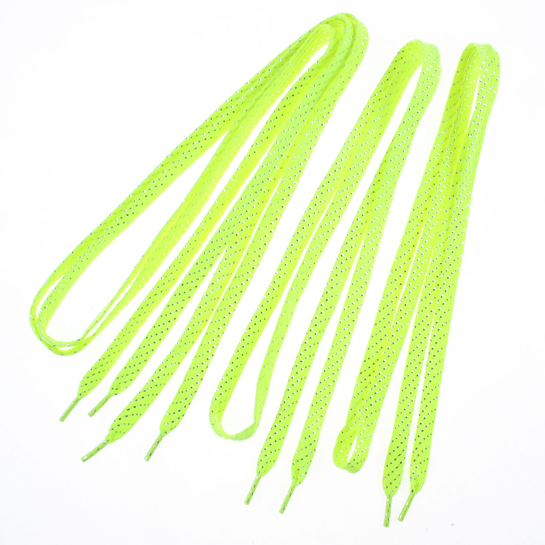 Glitter Tinsel Slanted Dots Pattern Sneakers Shoelaces Luminous Yellow 2 Pairs