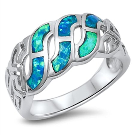 Celtic Knot Infinity Design Blue Simulated Opal Ring ( Sizes 5 6 7 8 9 10 ) .925 Sterling Silver Rings (Size 6) Celtic Knot Design Ring