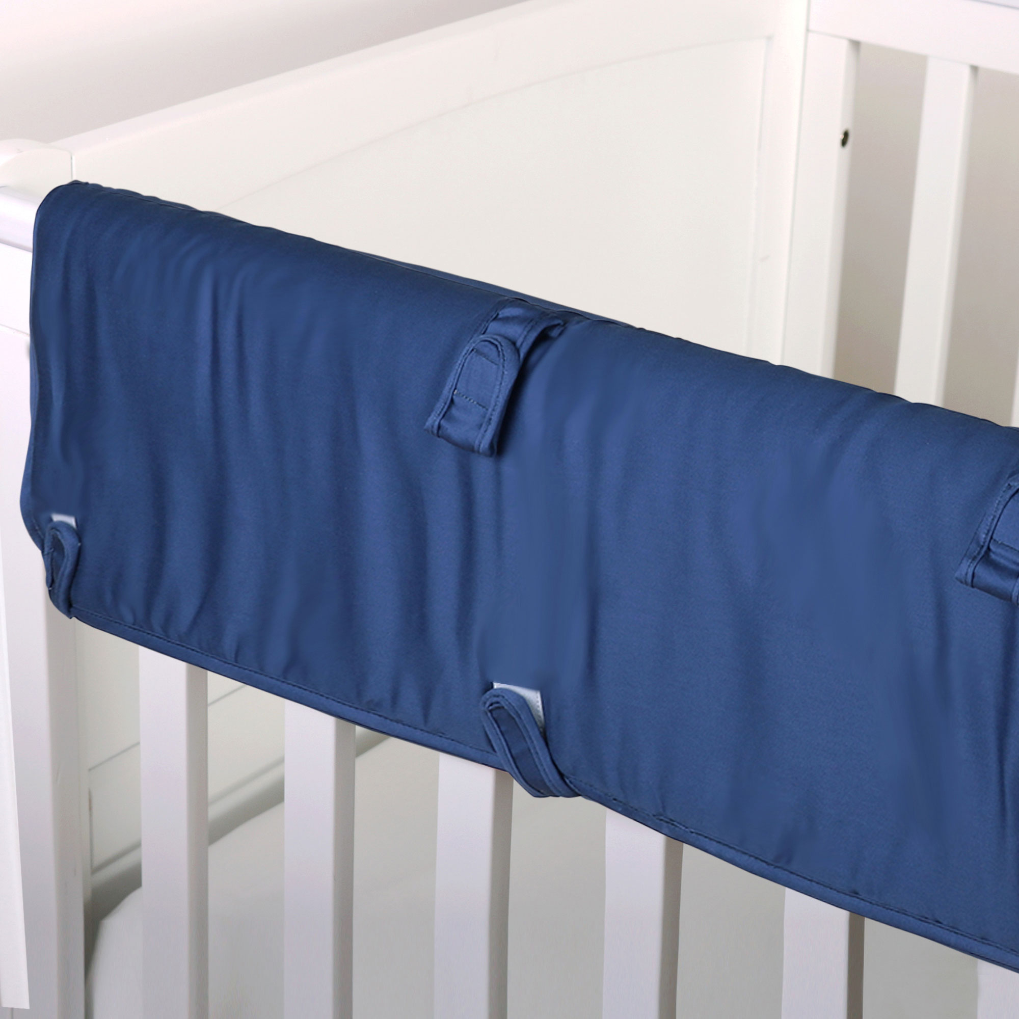 The Peanut Shell Baby Crib Rail Guard - Solid Navy Blue - 100% Cotton Sateen Cover, Polyester Fill