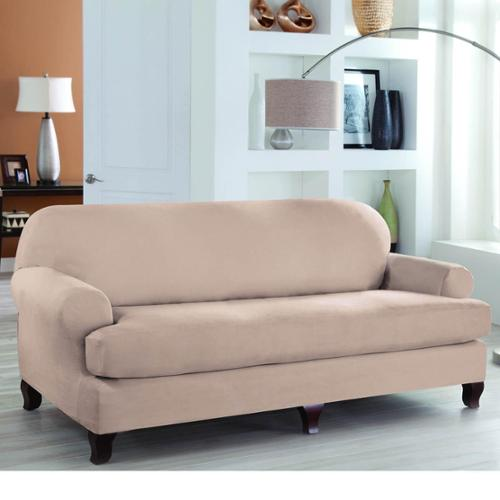 Tailor Fit Stretch Fit 2 Piece Sofa Slipcover Chocolate Sofa