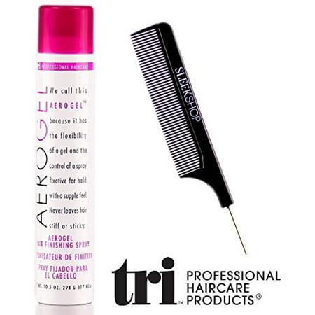 Tri Haircare Aerogel Hair Finishing Spray, aerosol hairspray (with Sleek Steel Pin Tail Comb) (10.5 oz retail size)