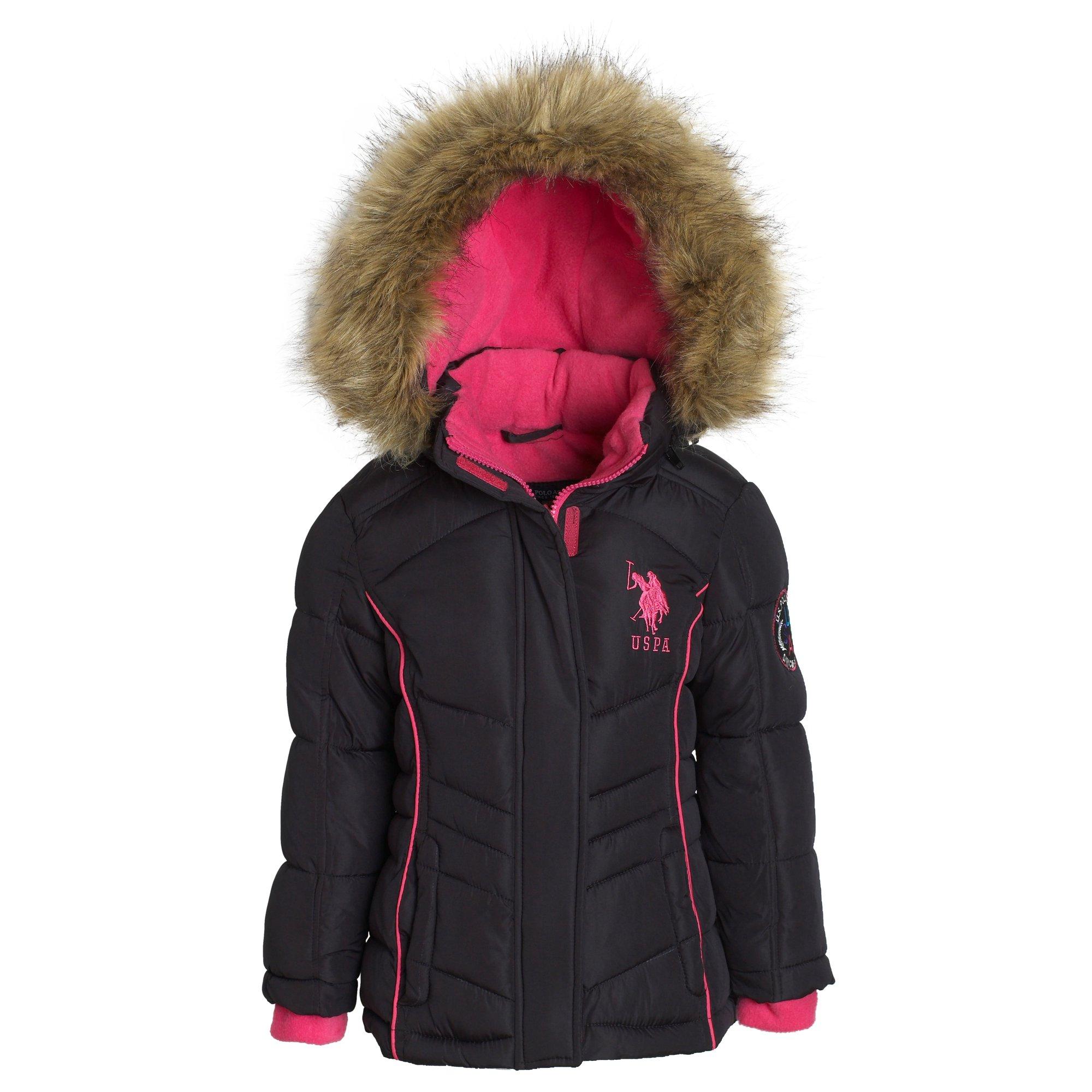 c1e18232cd5b US Polo Assn Girl Down Alternative Hooded Fleece Lined Puffer Bubble Jacket  Coat