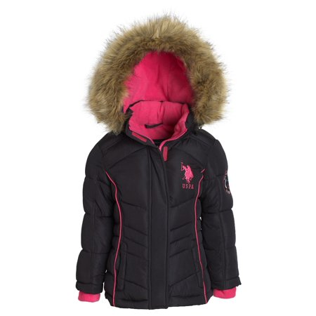 US Polo Assn Girl Down Alternative Hooded Fleece Lined Puffer Bubble Jacket Coat