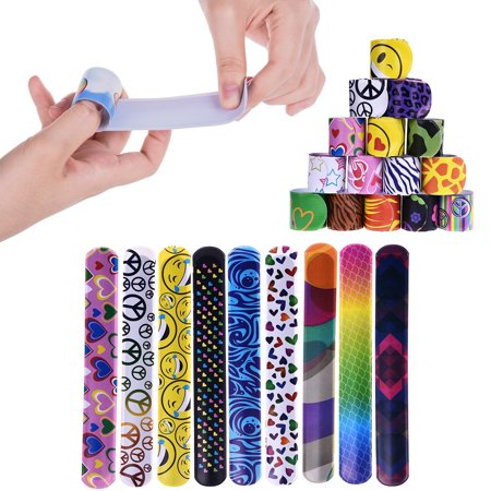 72 PCs Slap Bracelets Toys Party Favors Pack with Colorful Hearts Emoji Peace Animal Prints-Birthday School Classroom Prize For Kids Boys Girls F-166
