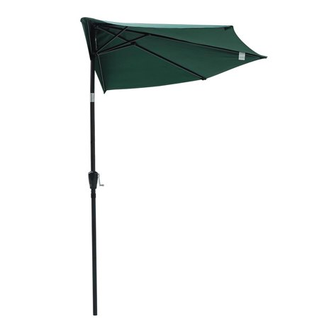 Yescom 10' Aluminum Half Patio Umbrella 5 Ribs with Tilt Crank Wall Balcony Backyard Deck Garden Green