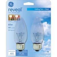 GE Reveal 60-Watt Crystal Clear Blunt Tip Medium Base Incandescent Decorative, 2-Pack