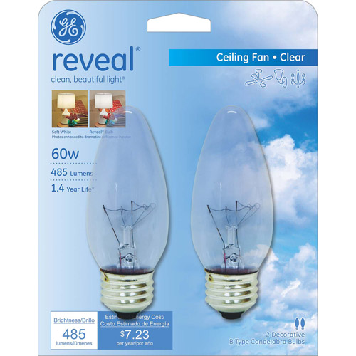 GE Reveal 60-Watt Crystal Clear Blunt Tip Medium Base Incandescent Decorative, 2-Pack