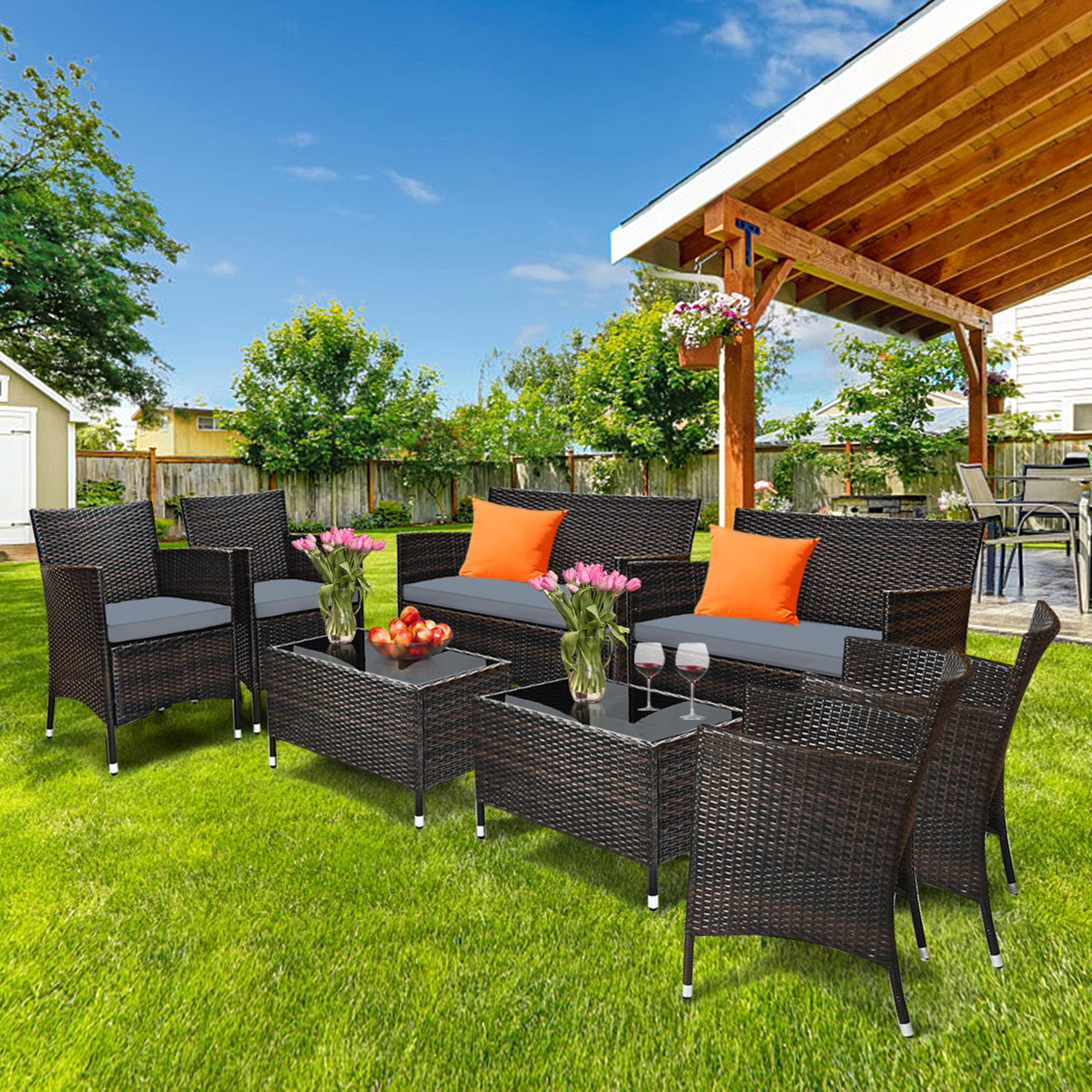 Gymax 8PCS Patio Rattan Conversation Furniture Set Outdoor ...