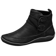 Bescita Womens Vintage Leather Boots Flat Waterproof Shoes Winter Round Toe Ankle Boots