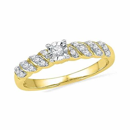 Roy Rose Jewelry 10K Yellow Gold Womens Round Diamond Solitaire Promise Bridal Ring 1/5-Carat tw 10k Gold Cocktail Rings