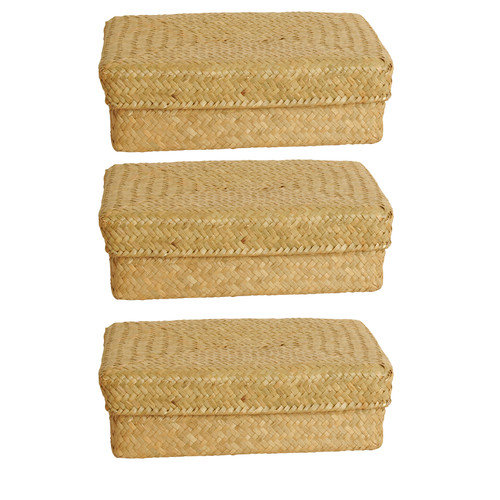 WaldImports Seagrass Reed Basket with Lid (Set of 3)