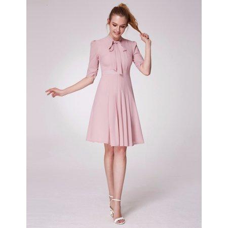 Alisa Pan Women's Chic A-Line Half Sleeve Pleated Office Shirt Casual Wear Bow Tie Work Dress for Women 05966 - Halloween Casual Wear