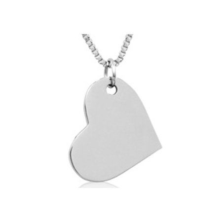 Ladies Floating Heart Necklace In Stainless Steel 16 Inches With Free Custom
