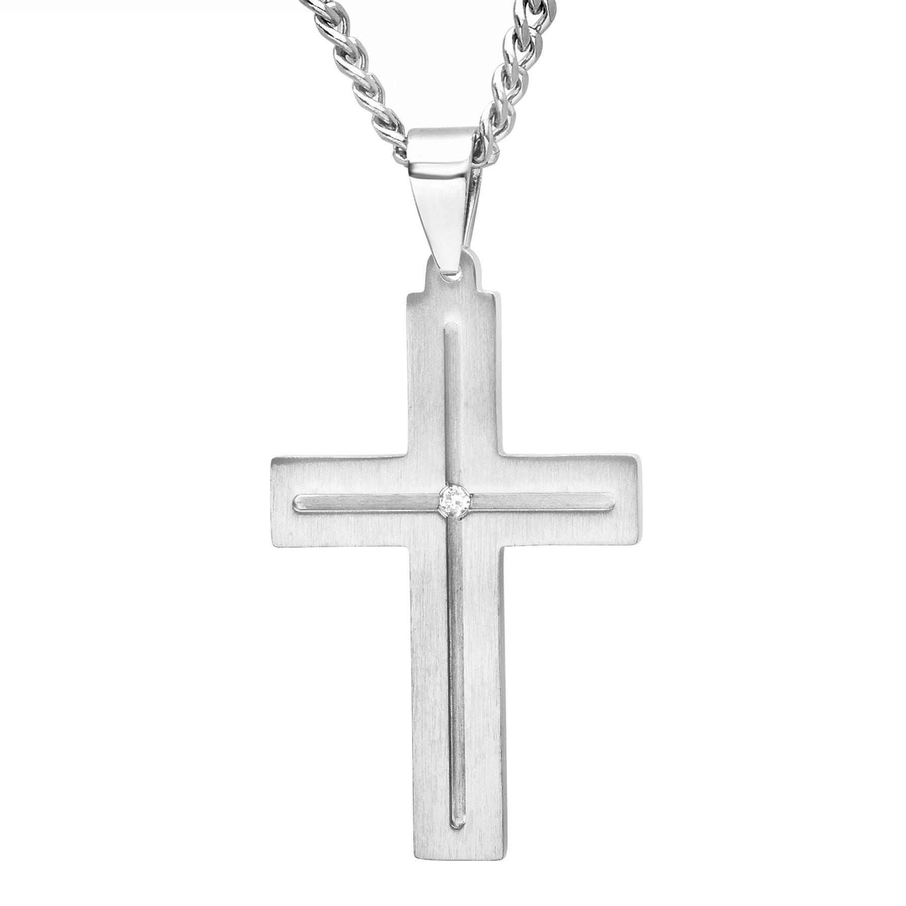 """Men's Diamond Accent Stainless Steel Cross with 24"""" Curb Chain - Mens Pendant"""