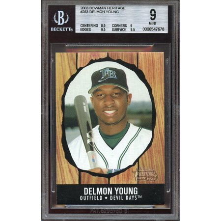 2003 bowman heritage #253 DELMON YOUNG rays rookie card BGS 9 (8.5 9 9.5 9.5) 2007 Bowman Heritage Card