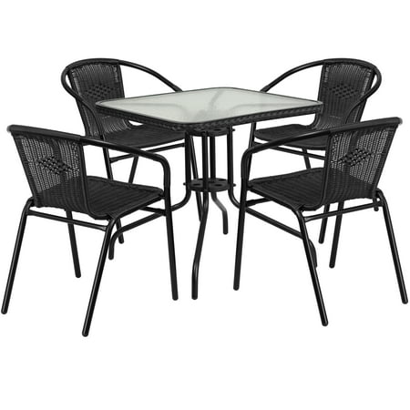 Flash Furniture Outdoor Patio Dining Set, Glass Table with 4 Rattan Chairs, Multiple Colors and Shapes