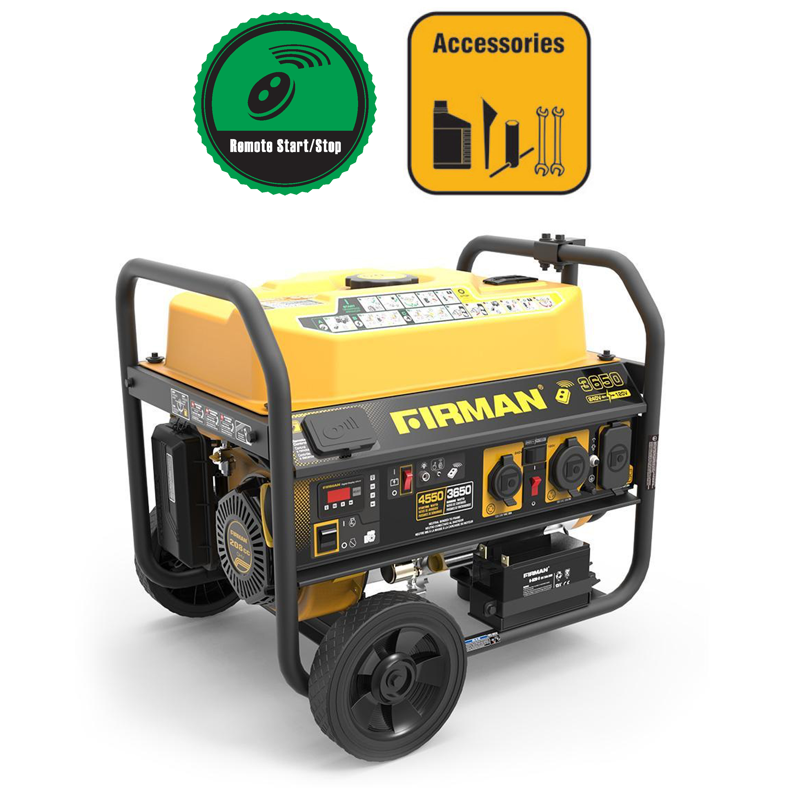 Firman P03612 4550/3650 Watt 120/240 V Gas Remote Start Generator, cETL