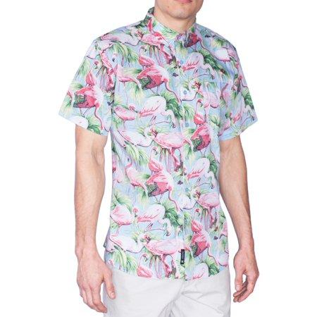 e1998a38 Visive - Hawaiian Shirt For Mens | Short Sleeve Button Up Down Casual Aloha  Shirts Flamingo XL - Walmart.com