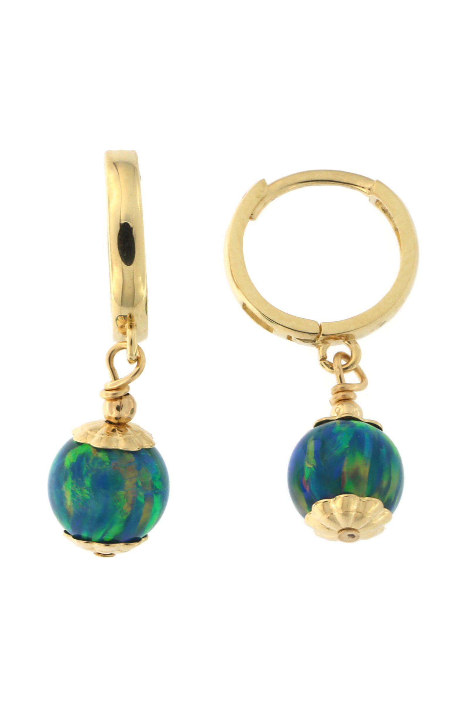 14k Yellow Gold 7mm Simulated Opal Huggie Dangle Earrings by
