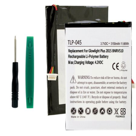 Barnes & Noble Nook Glowlight Plus 2015 Tablet Battery (Li-Pol 3.7V 1500mAh) - Replacement For Barnes and Noble PR-285083 Tablet Battery, (Embedded Battery w/ Tools) ()
