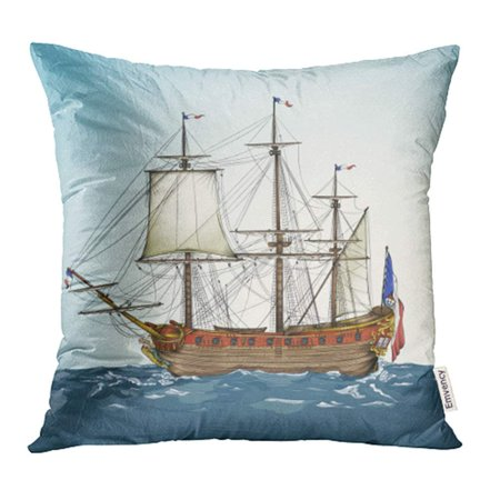 ARHOME Navy Old Drawing of Historic Ship Groups and Layers Whole is Available Beneath Waves Pillow Case Pillow Cover 20x20 inch Throw Pillow Covers