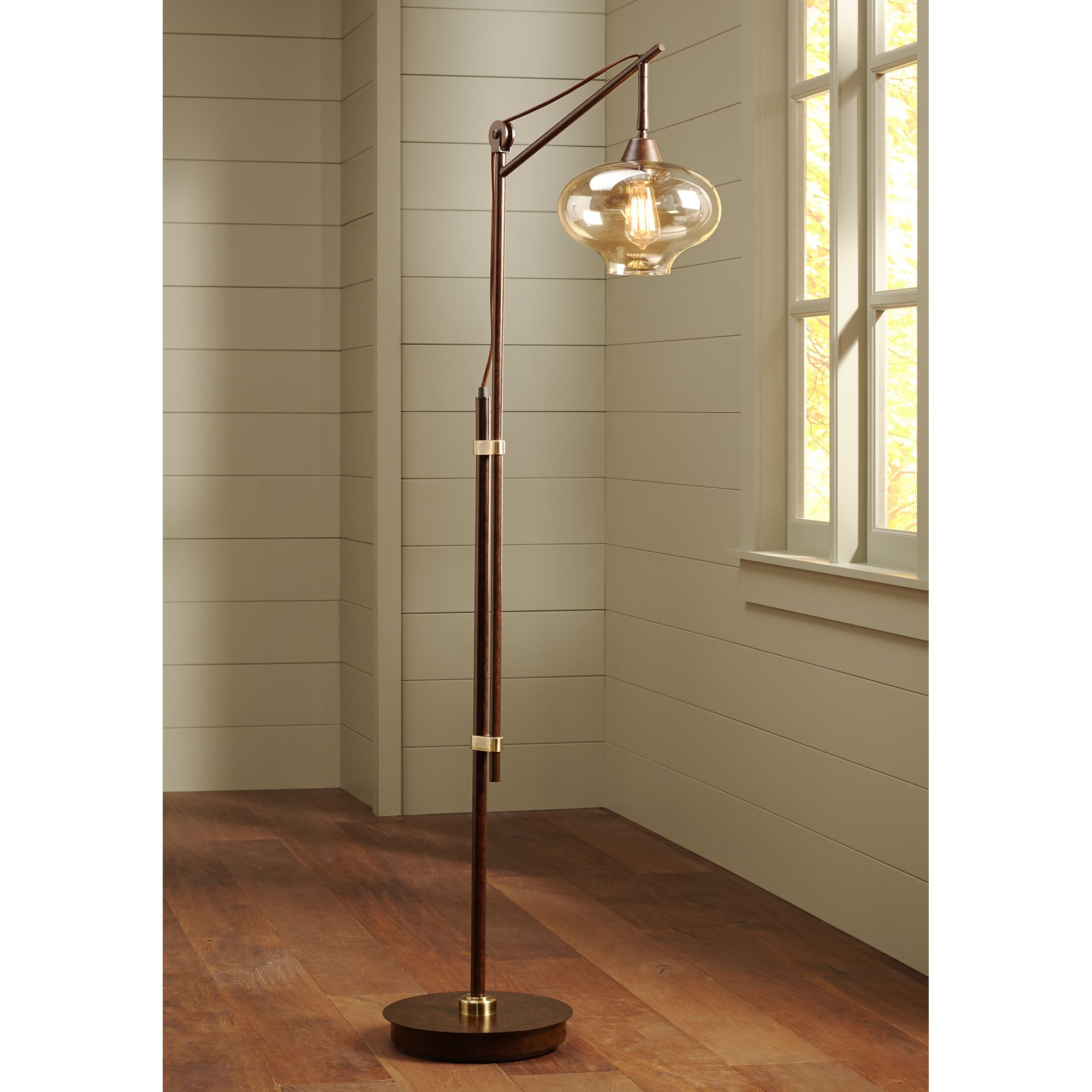 Franklin Iron Works Calyx Cognac Glass Industrial Bronze Floor Lamp by Franklin Iron Works