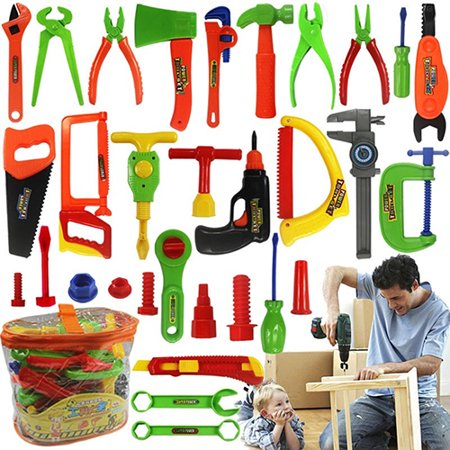 Girl12Queen Kids Play Pretend Toy Tool Set Workbench Construction Workshop Toolbox - Kid Tools