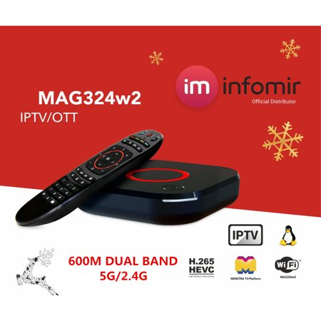 2019 Model MAG 324w2/325w2 from Infomir Linux IPTV/OTT /HEVC BOX Media Streamer IPTV BOX 4K 3D Dual band 2.4G/5G 600M (Best Tv Arabic Iptv Box Wireless Package)