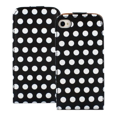 Fosmon Polka Dot Magnet Flip Leather Case for Apple iPhone 4S / 4 (Black/White) ()