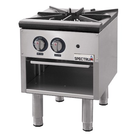 Winco NGSP-1, Stainless Steel Spectrum Gas Stock Pot Stove, Three-Ring Cast Iron Burners, Full Width Removable Stainless Steel