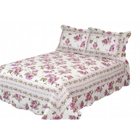 Patch Magic QQPEBL Peony Bloom Queen Quilt with 3 Piece Pillow Shams Set, Rose Purple - image 1 of 1