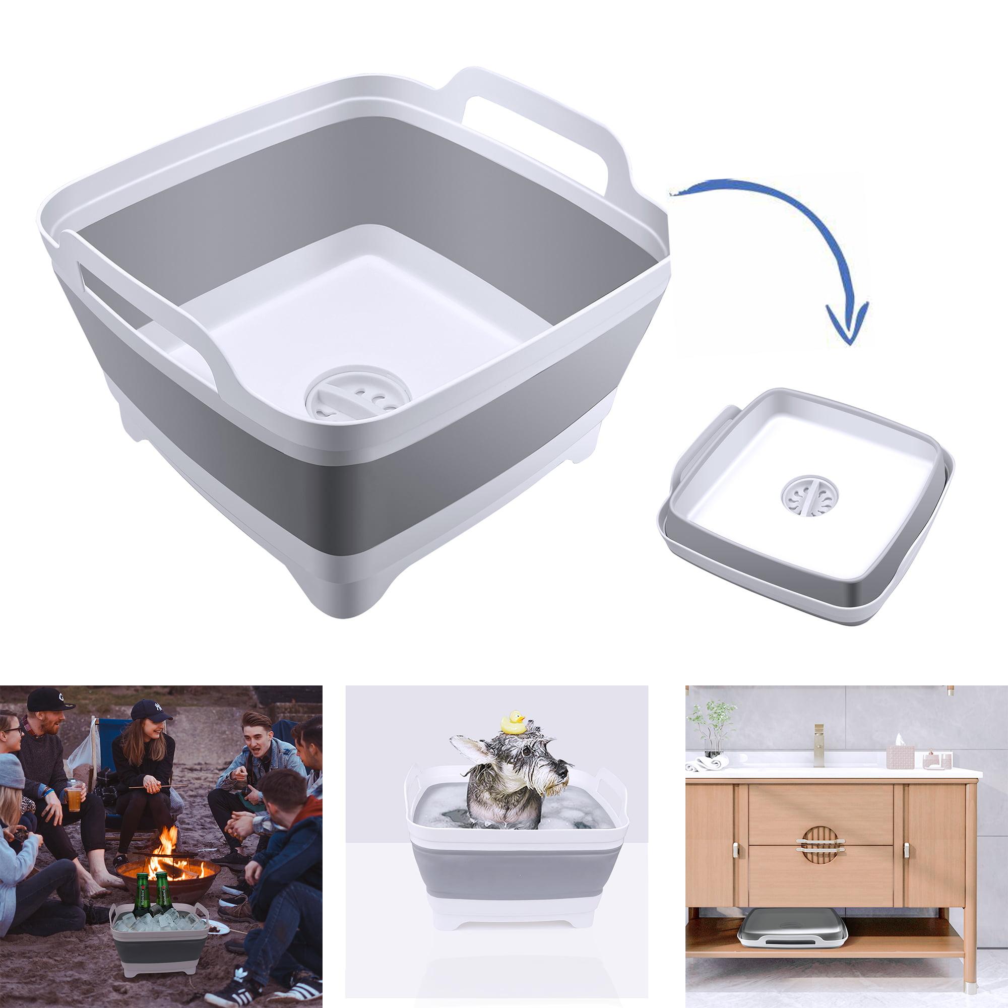 Collapsible Washing Up Bowl Dish Drainer Draining Folding Water Camping Pot